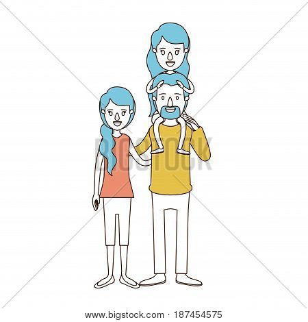 caricature color sections and blue hair of family with mother and father with moustache and girl on his back vector illustration