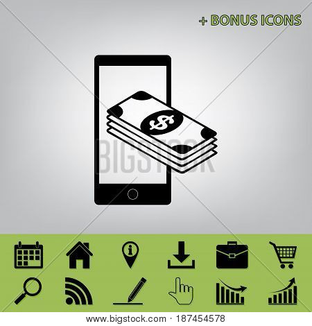 Payment, refill your mobile smart phone, . Vector. Black icon at gray background with bonus icons at celery ones