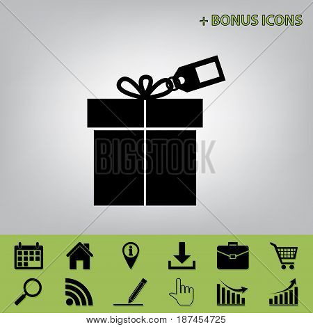 Gift sign with tag. Vector. Black icon at gray background with bonus icons at celery ones