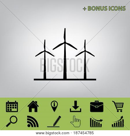 Wind turbines sign. Vector. Black icon at gray background with bonus icons at celery ones