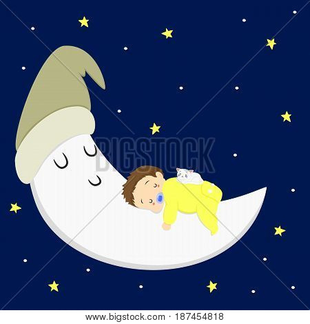 baby boy and white cat sleeping on the moon in starry night