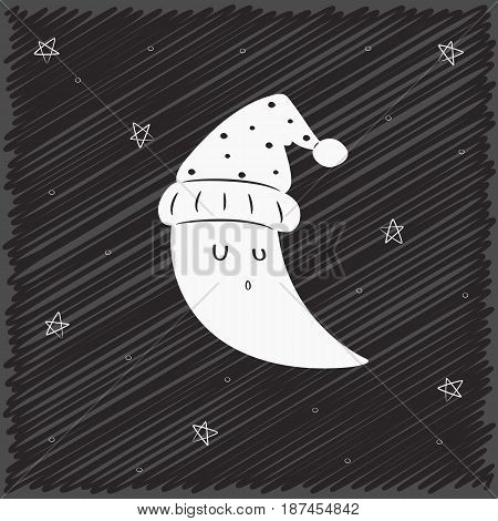 black and white sleeping moon with scribble background