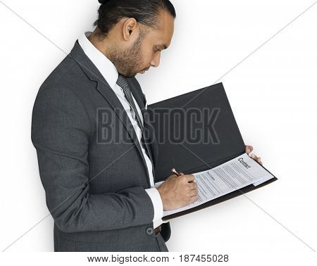 Indian Asian Man Signing Contract