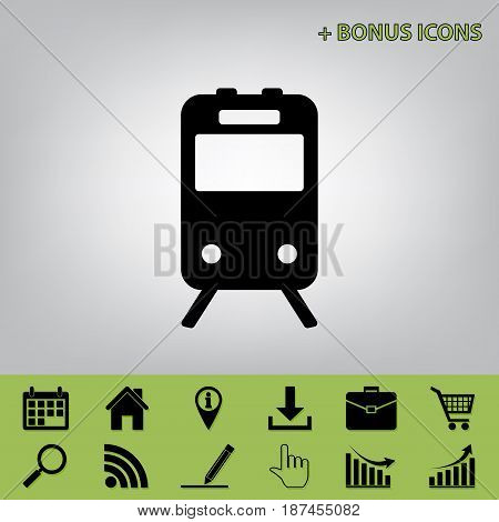 Train sign. Vector. Black icon at gray background with bonus icons at celery ones