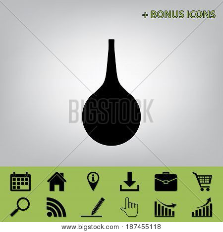 Enema sign. Vector. Black icon at gray background with bonus icons at celery ones