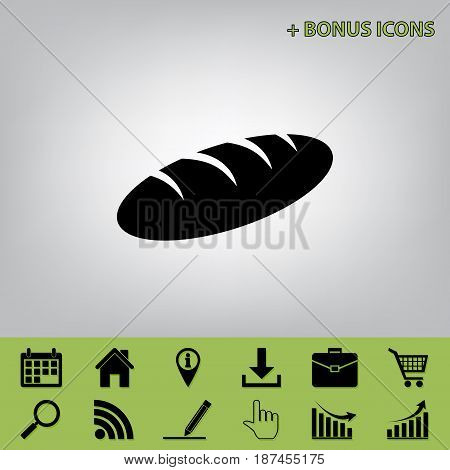 Bread sign. Vector. Black icon at gray background with bonus icons at celery ones