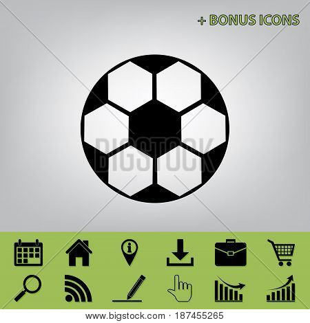 Soccer ball sign. Vector. Black icon at gray background with bonus icons at celery ones