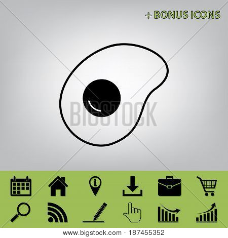 Omelet sign. Flat designed style icon. Vector. Black icon at gray background with bonus icons at celery ones