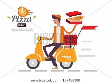Pizza delivery boy riding motor bike isolated on white background. food delivery concept flat design vector illustration. eps10
