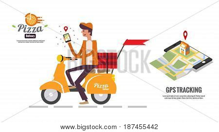 Pizza delivery boy holding smartphone for seeing customer location map. food ordering and delivery concept. Website banner. flat design vector illustration. eps10