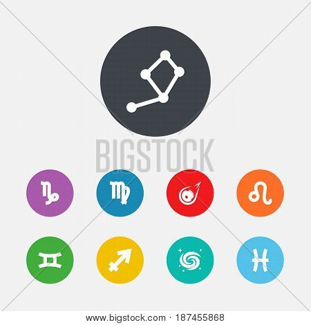 Set Of 9 Astronomy Icons Set.Collection Of Space, Goat, Comet And Other Elements.