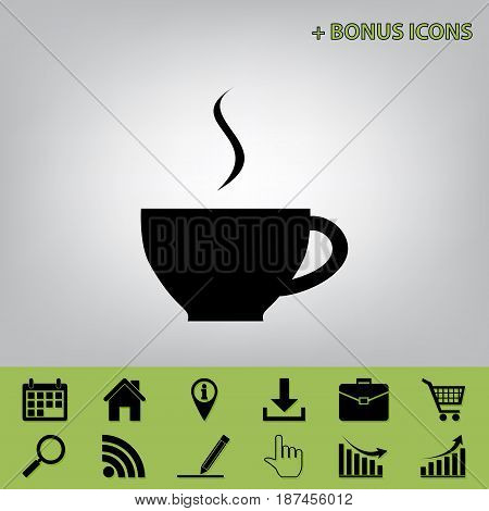 Cup sign with one small stream of smoke. Vector. Black icon at gray background with bonus icons at celery ones