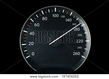 Speedometer of a car showing 170