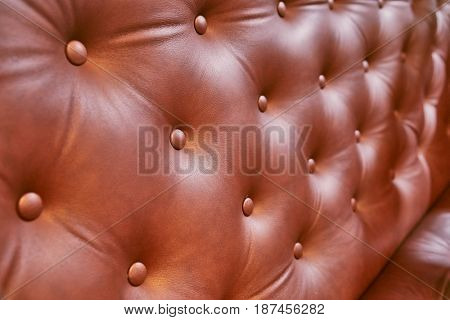 Luxury leather seat of a vintage coach