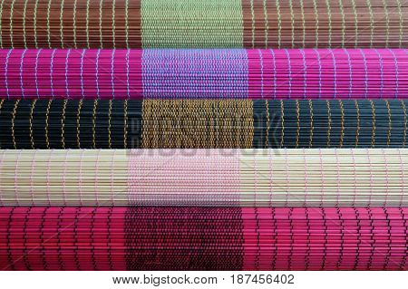 Colorful of bamboo mat plate, Colorful pattern, Bamboo texture, Blank space of bamboo mat, Japanese Bamboo plate