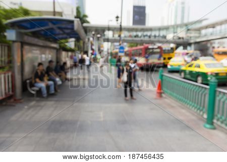 blurred scene of pedestrian in ratchaprasong area in Bangkok Thailand