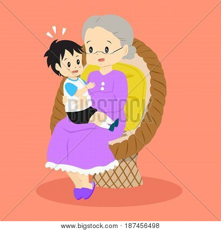 granny sitting happily in a rattan chair with her grandson on her lap