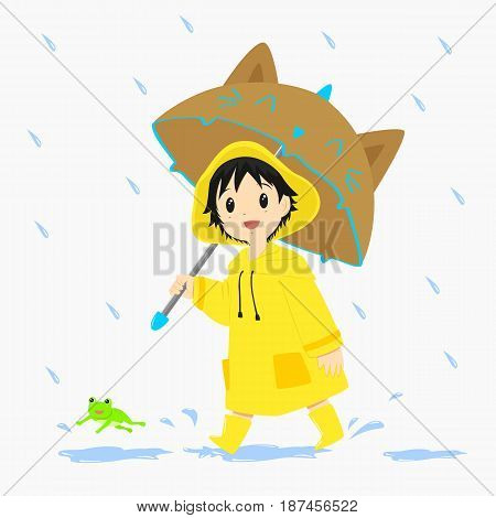 A little boy wearing yellow raincoat and holding an umbrella walking under the rain, with a jumping frog in front of him