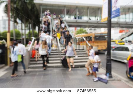 blurred scene of people in ratchaprasong area in Bangkok Thailand