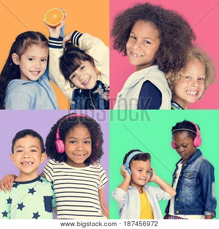 People Set of Diversity Kids Playful Studio Collage
