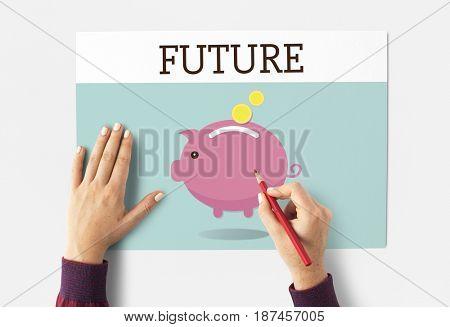Piggy Bank Money Savings Future Investment Word Graphic
