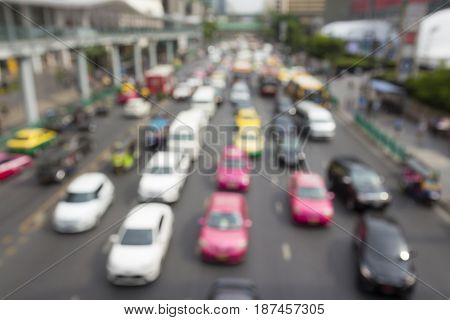blurred background of traffic jam in ratchaprasong area Bangkok Thailand
