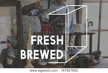 Coffee Fresh Brewed Word Graphic