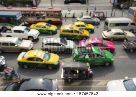 blurred background of car in traffic jam in rush hour in ratchaprasong area Bangkok Thailand