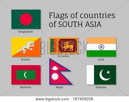 Set of flags of south Asia, Bangladesh, Butane, Sri Lanka, India, Maldives, Nepal, Pakistan. Flat vector illustration