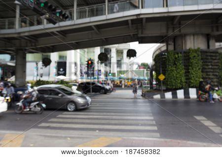 blurred background of crosswalk way in ratchaprasong area Bangkok Thailand