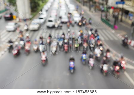 blurred background of traffic at ratchaprasong junction in Bangkok Thailand