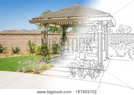 Beautiful Yard Pergola Patio Cover Drawing Transitioning to Photo Reality.