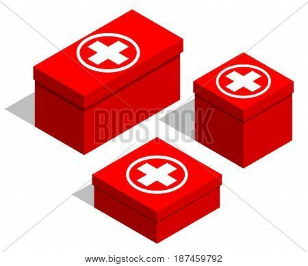 Medical first-aid kits. Set of red boxes with a medical symbol on the lid. Isolated objects on white background. Isometry. Vector illustration.