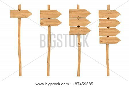 3d rendering of a wooden signpost set with one, two, three and four directional arrows attached. Road directions. Signs and information. Right and wrong way.