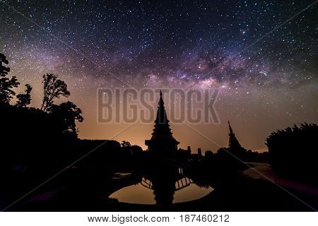 Milky way over the pagoda on Doi-Inthanon national park in Chiangmai Thailand
