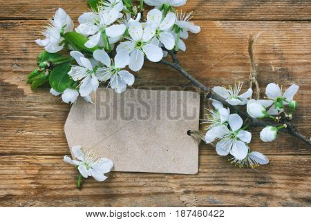 Blank paper tag and branch of a flowering plum on a wooden table macro