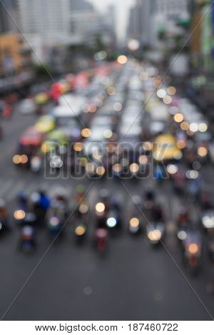 blurred background of car in red light signal on traffic in Bangkok Thailand