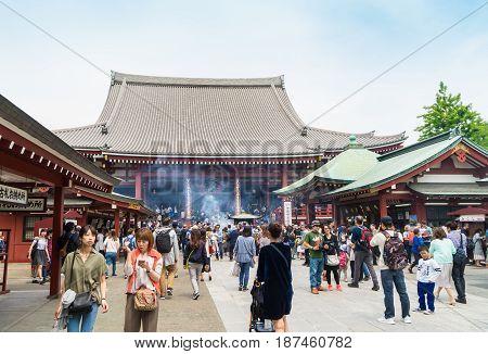 Tokyo Japan - May 1 2017: Tourists and Local are visiting Sensoji Shrine in Asakusa Tokyo.