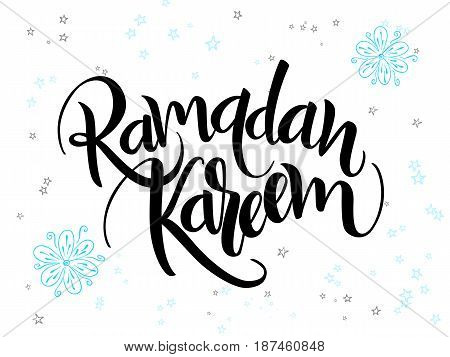 vector hand lettering greetings ramadan kareem text with doodle flowers and stars.