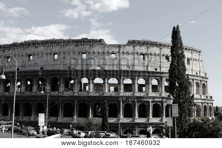 Rome, Italy. Colosseum in black and white.