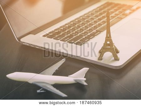France Paris travel agency office table in vintage tone