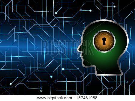 Cyber Security Keyhole Lock Circle Human Head
