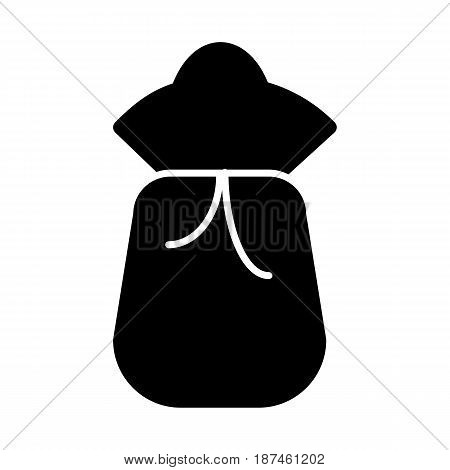 Sack or bag vector icon. Black and white bag illustration. Solid linear icon. eps 10