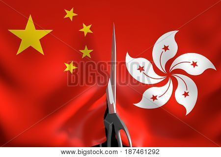 Hong Kong independence and secession from One China policy concept, 3D rendering