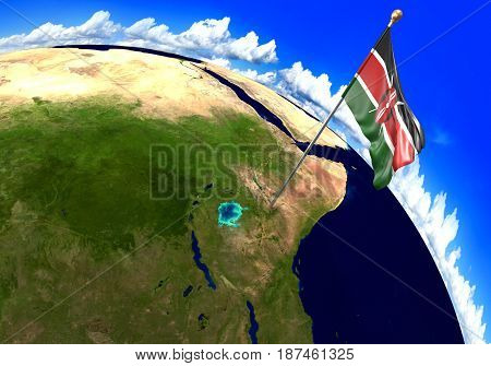 Kenya national flag marking the country location on world map. 3D rendering, parts of this image furnished by NASA