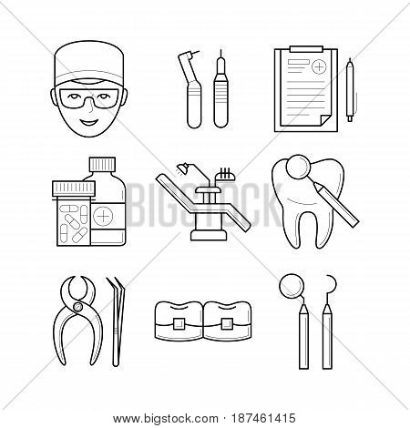 Set of stomatological objects, doctor, icons, vector illustration, dental handpiece, list, pills, chair, tooth, tools, professional treatment procedure pictogram, health concept. Vector illustration
