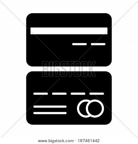 Credit cards vector icon. Black and white card illustration. Solid linear icon. eps 10