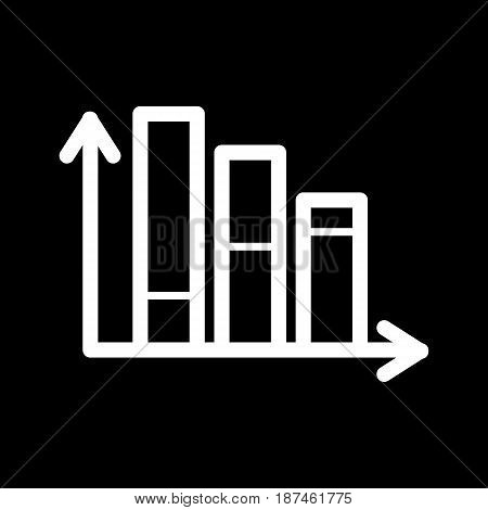 Chart vector icon. Black and white diagram illustration. Outline inear schedule icon. eps 10