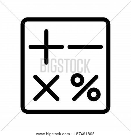 Calculator vector icon. Black and white counting illustration. Outline linear icon. eps 10