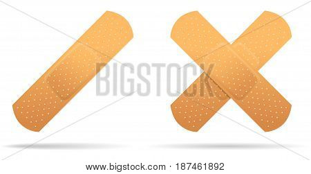 Adhesive plaster medical. Isolated object on white background. Vector illustration.